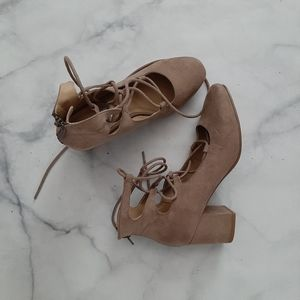 Steve Madden Taupe Suede Lace Up Round Toe Heels